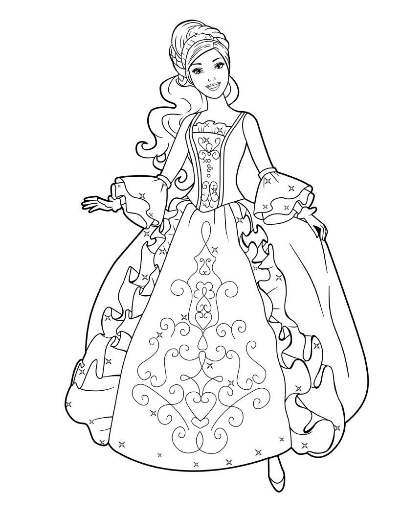 Barbie Princess Coloring Pages With Images Barbie Coloring