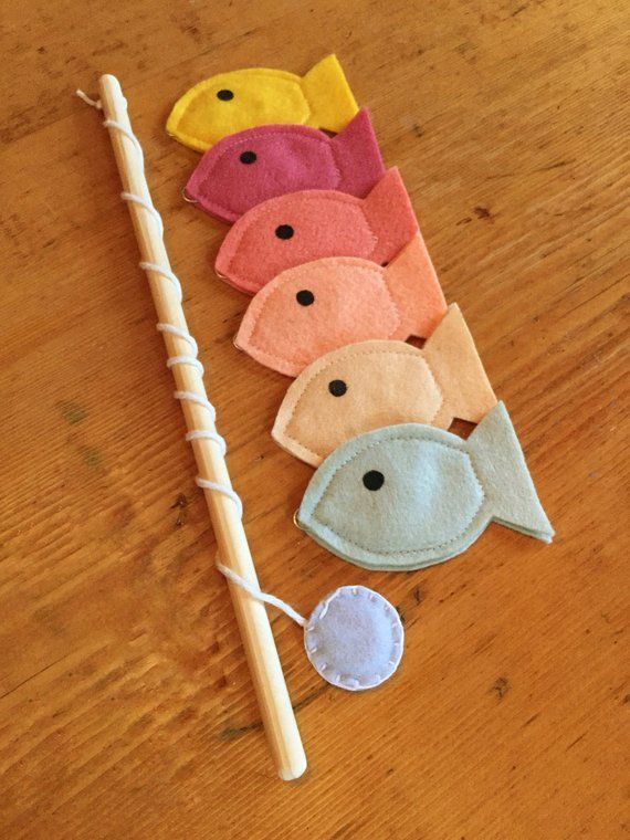 Toddler Educational Toys, Magnet Felt Fishing Game, Fishing Kids Game, Handmade Toys, Waldorf Toys, Sherbet Colors #handmadetoys