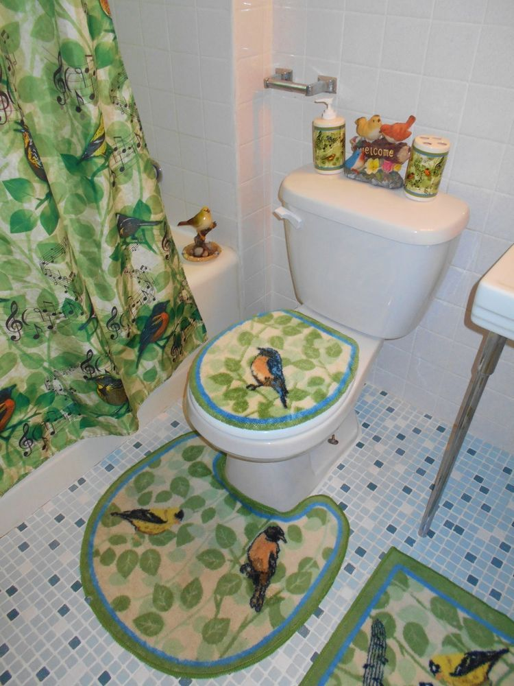 Birds And Music Note Bath Rug With Toilet Seat Cover And Contour Rug