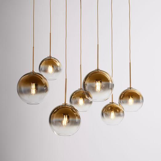 Sculptural Glass Globe 7 Light Chandelier Mixed Metallic Ombre
