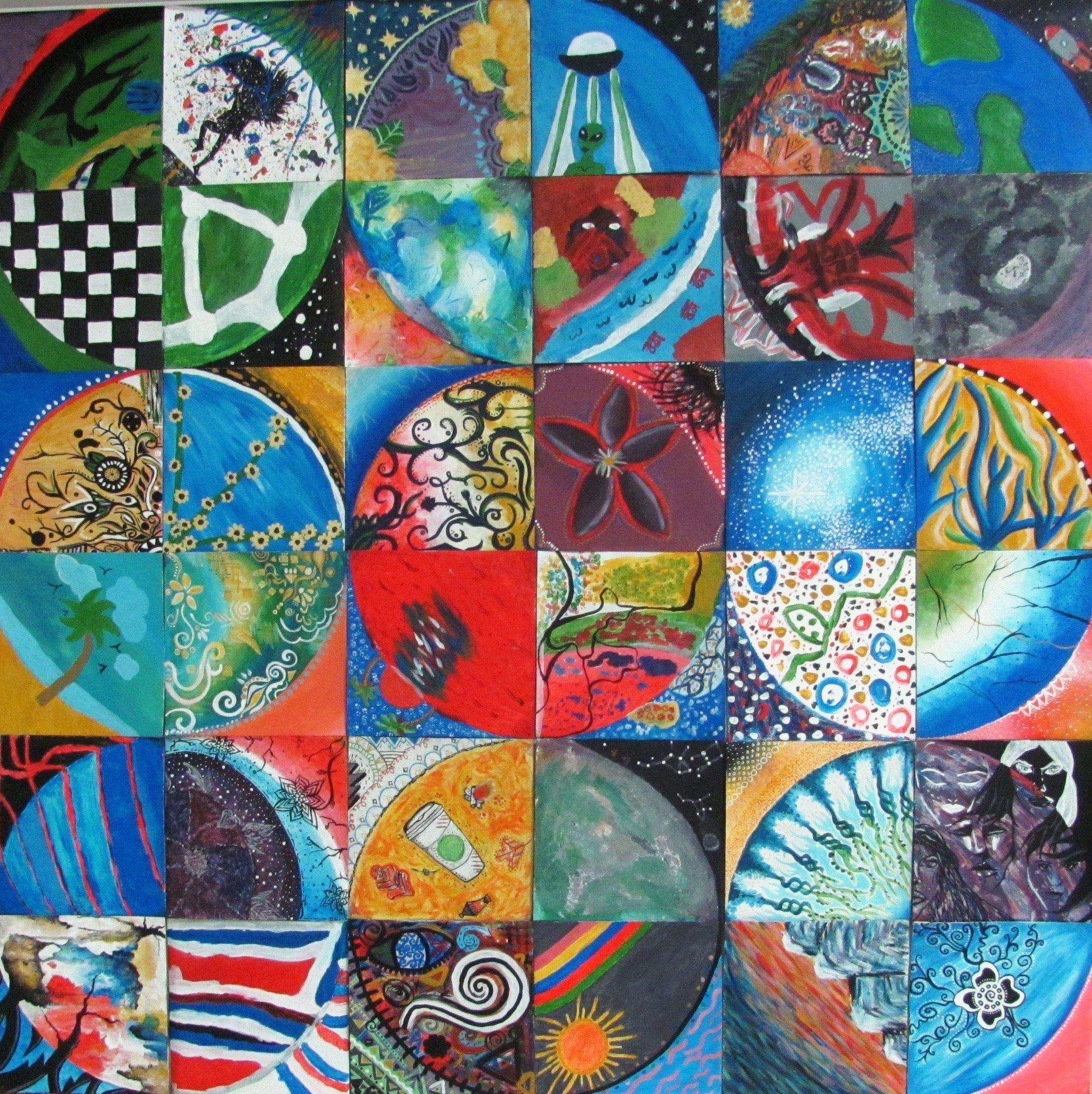 Collaborative Classroom Art Project : Collaborative quarter circle acrylic paintings conway