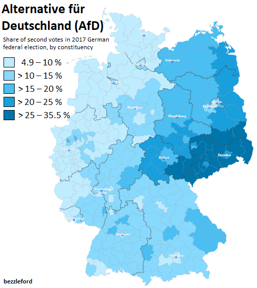 Share Of Second Votes For The AfD In The German Federal - Germany map 2017