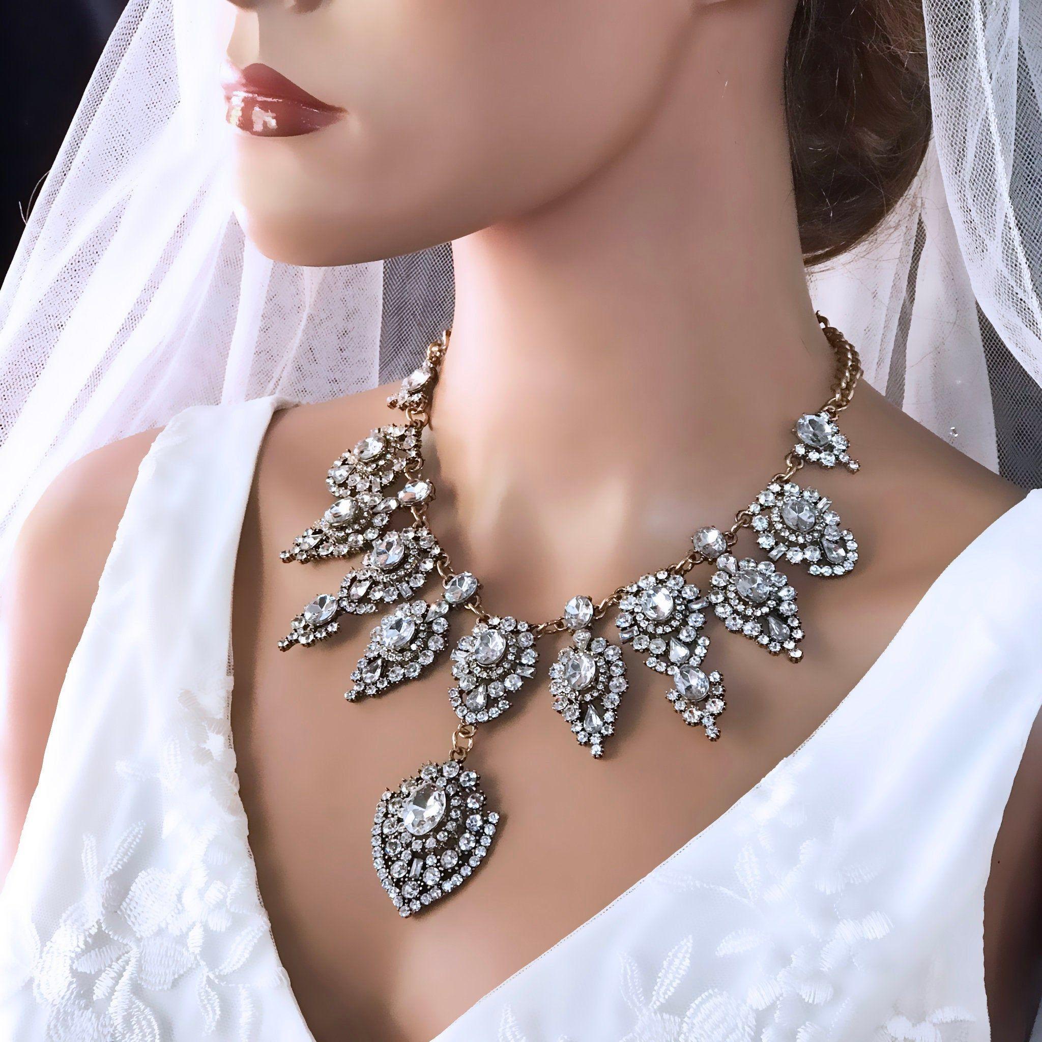 Bridal Jewelry Bridal Necklace Wedding Jewelry Vintage Etsy Vintage Wedding Jewelry Gold Bridal Necklace Bridal Necklace