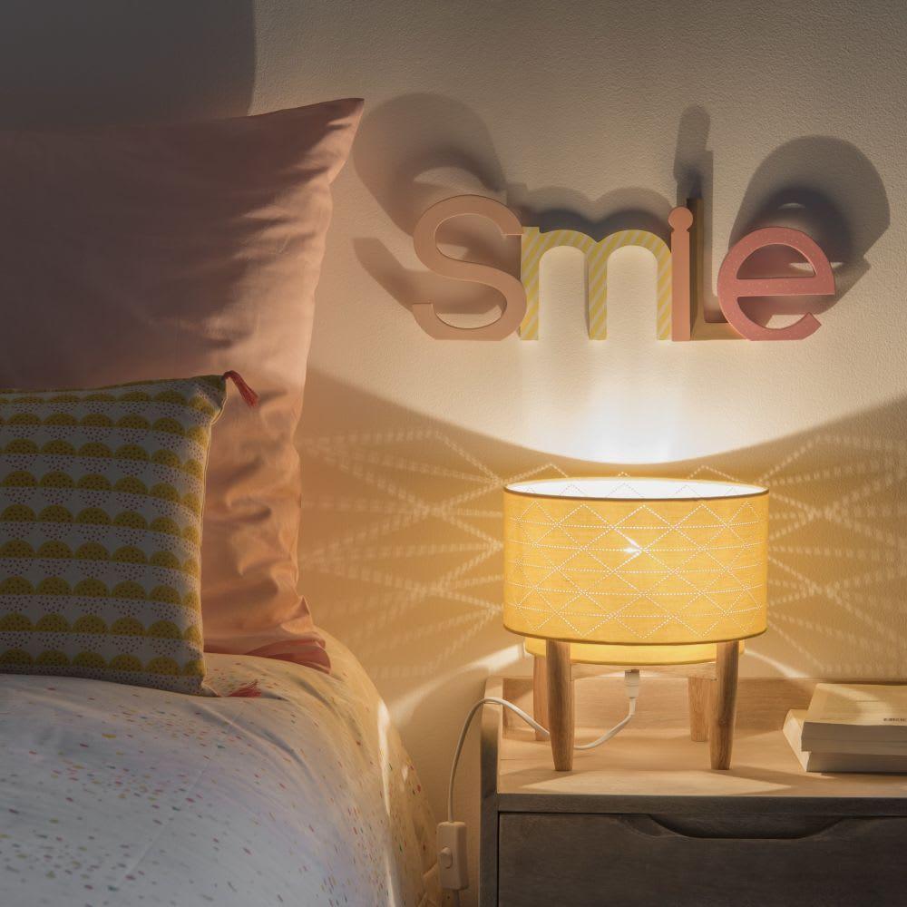 Lampe Mit Kiefernholzgestell Und Gelbem Lampenschirm Maisons Du Monde Lampenschirm Lampe Flur Mobel