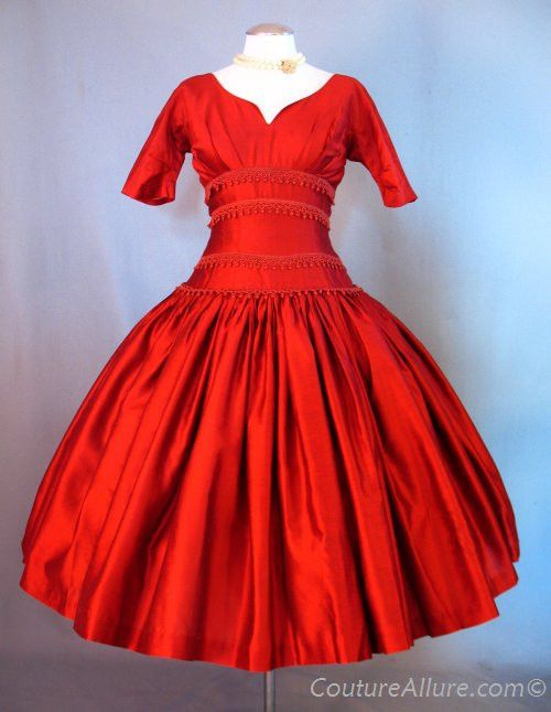 Vintage 50s Dress With Braid Trimmed Fitted Torso