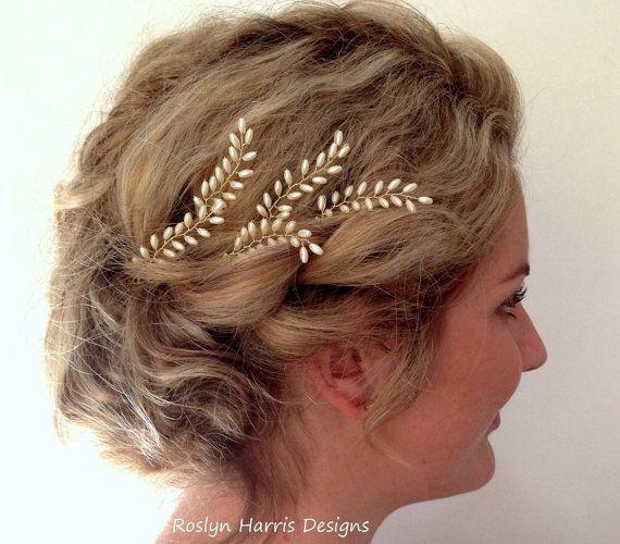Grecian Bridal Hair Pins Fern Leaf Wedding Accessories Pearl
