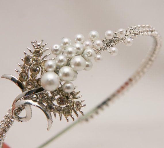 wedding hair rhinestone and white pearl tiara by BeSomethingNew