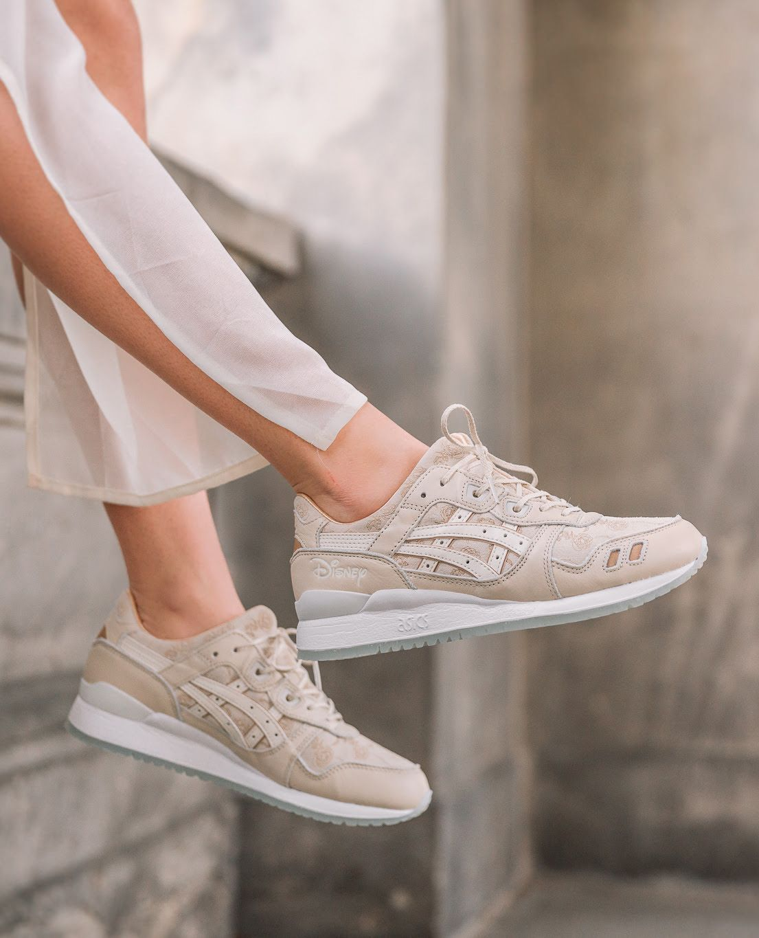 on foot disney x asics tiger gel lyte iii beauty and the beast