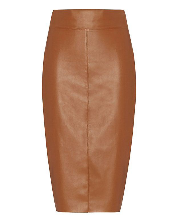 Bailey 44 Faux Leather Pencil Skirt: Cognac | Intermix | I Dream ...