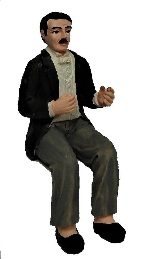 Melody Jane Dolls House Gentleman in Evening Suit Sitting People Resin Figure