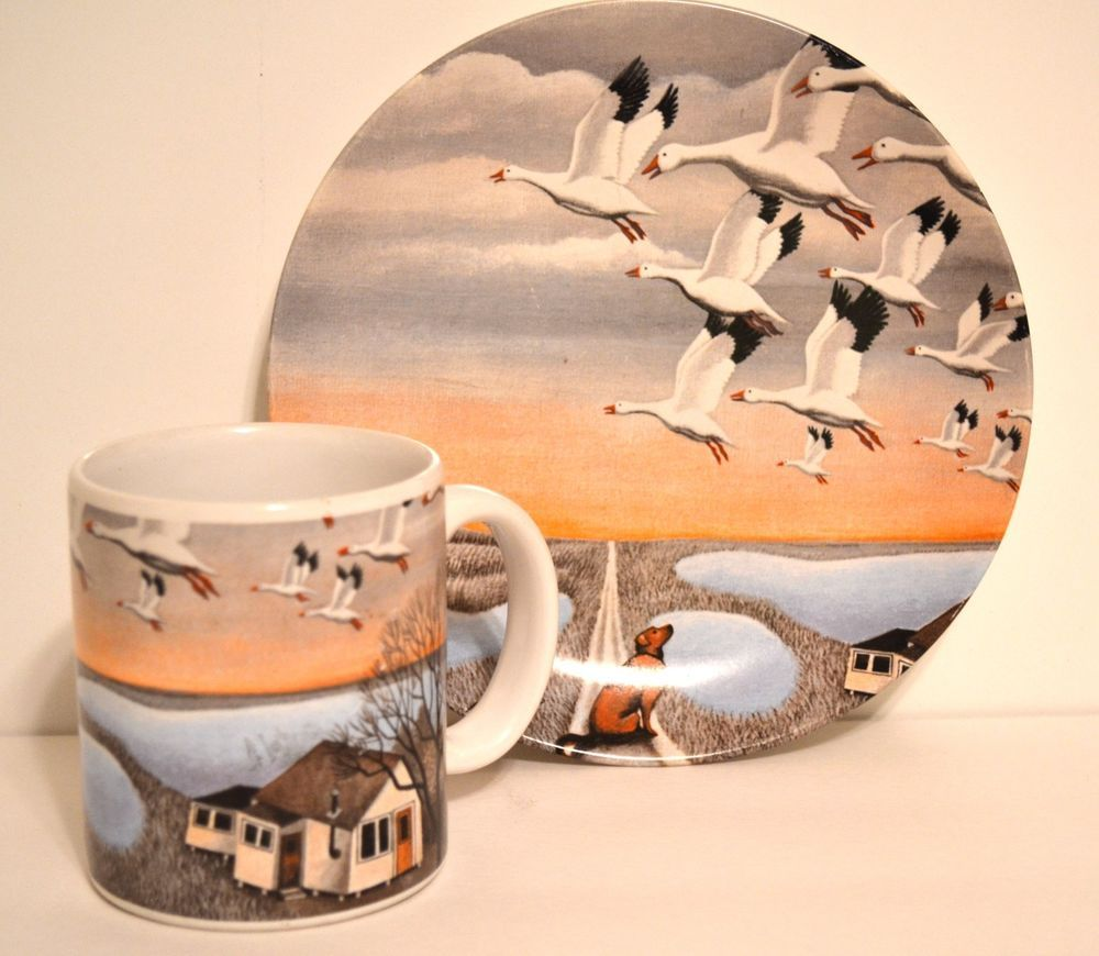 Lowell herrero dog watching snow geese collectors plate