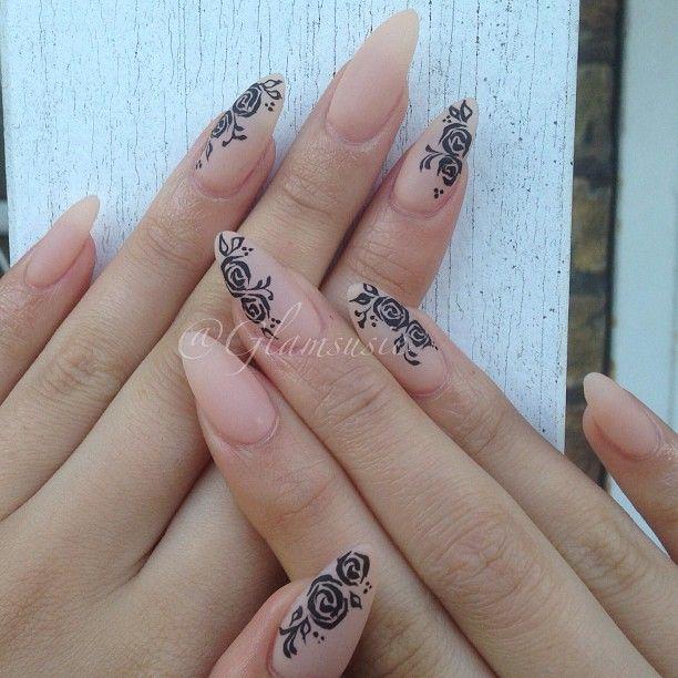 Nude Stiletto w/ matte finish and black roses! LOVE | cabello y ...