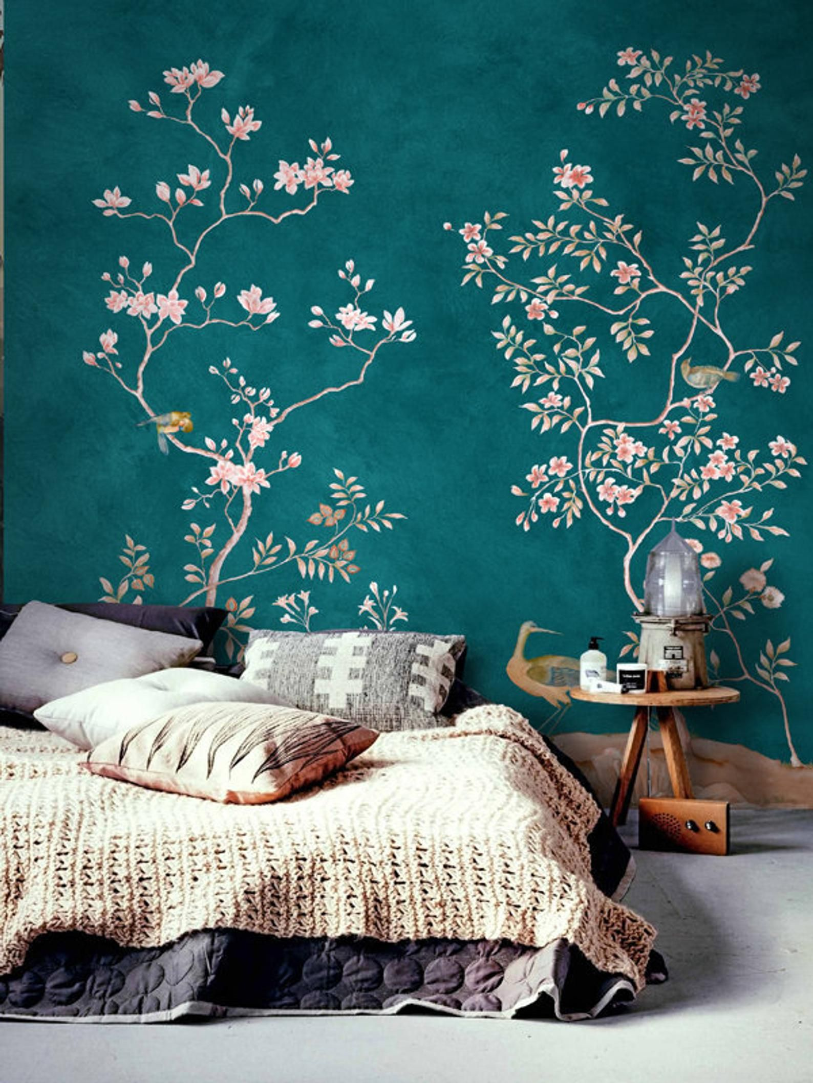 Chinoiserie Removable Wallpaper Floral Vintage Bird Wall