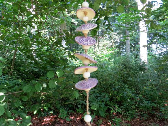 Garden Wind Chime Ceramic   round about lavendel  by gedemuck, €19.00