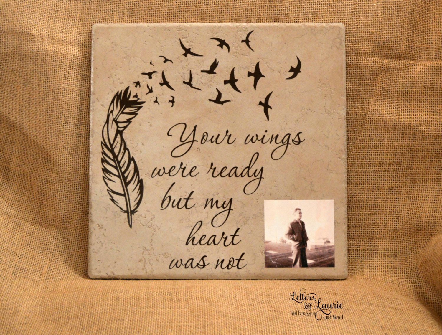 12x12 Your wings were ready In loving memory sign Memorial t Personalized Loving
