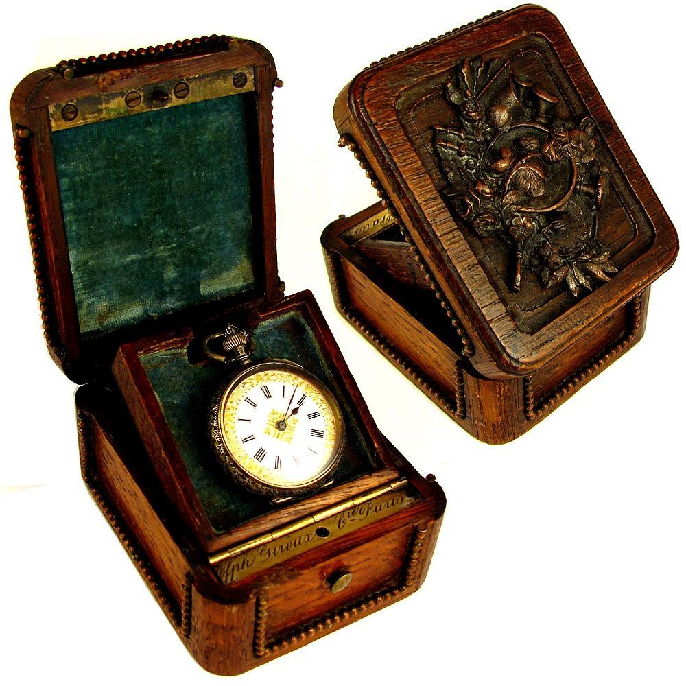 Antique French Signed Giroux Paris Pocket Watch Display