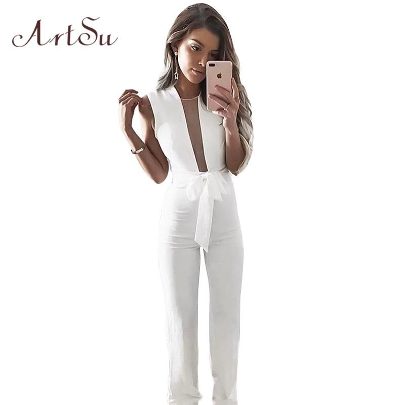 810ea7cfa2a3 ArtSu Women 2018 Solid Jumpsuit Women Sleeveless Long Jumpsuits Slim Sexy  Mesh Transparent Office Work Belted Overalls ASJU30293