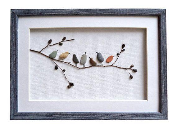 Birds wall art, Pebble art birds, Nursery decor, Rustic home decor, New home housewarming gift, Framed wall art, Bird lover gift, Nature art #wallphone