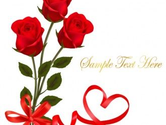 3 rose rosse red rose with ribbon valentine day card
