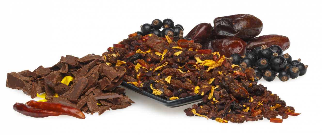 Chocolate bits, dates and fruit bits for an energizing beverage in the afternoon.