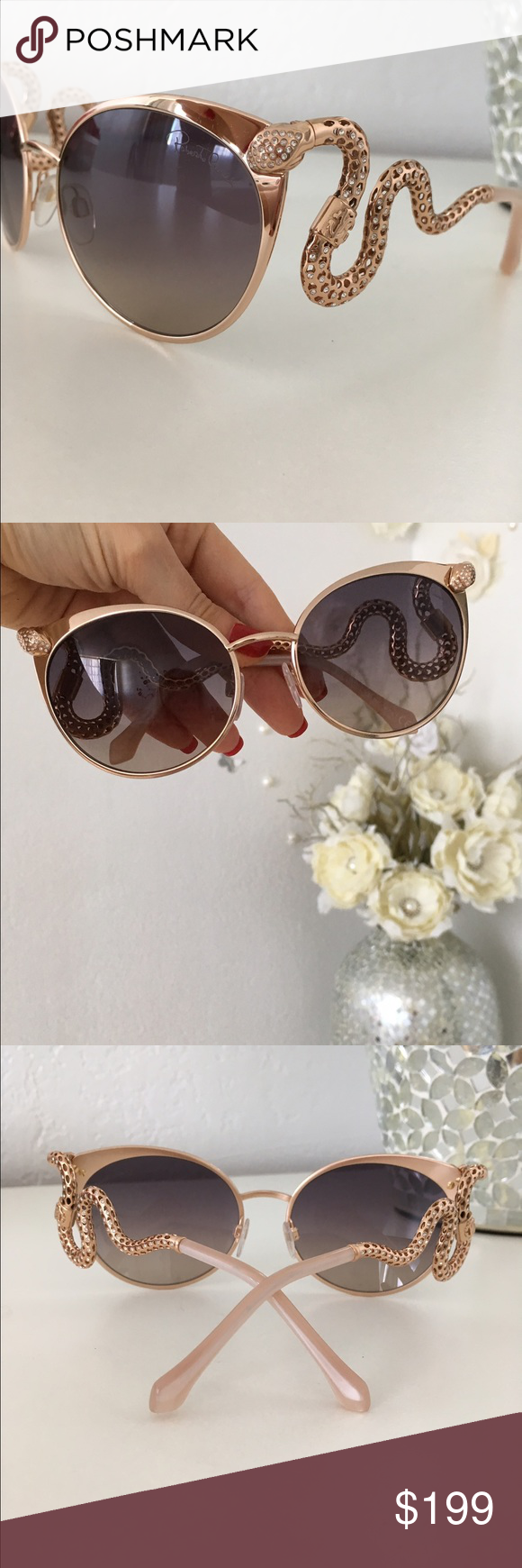 Roberto Cavalli Snake sunglasses Authentic RC Menkalinan snake and crystal sunglasses. New without case. Gorgeous. No🚫trades Roberto Cavalli Accessories Sunglasses