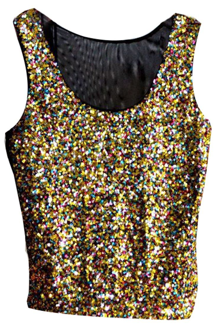 8c098ea4ae576f Pink Wind Sexy Sequins Sparkly Sleeveless Vest Tank Tops Shirts at Amazon  Women s Clothing store