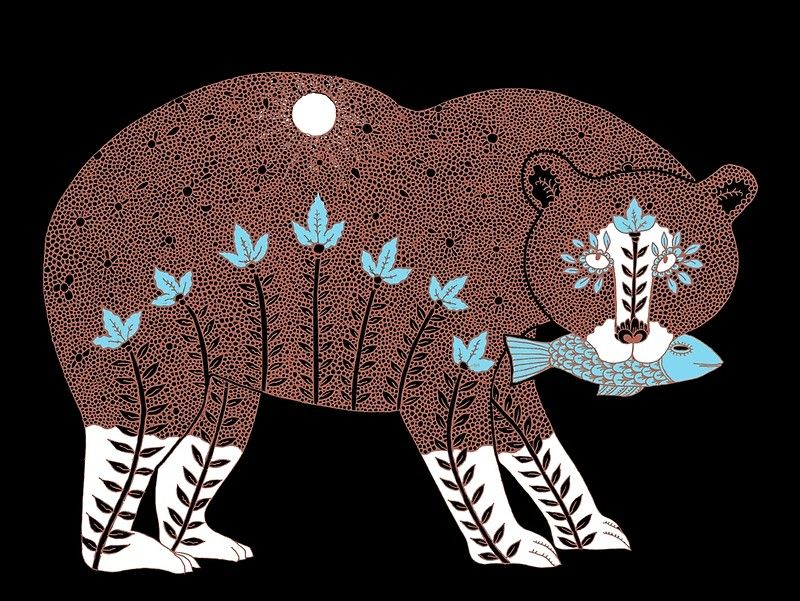 Folk Art Spirit Bear With Fish Posters By Susansanford Redbubble Folk Art Fish Spirit Bear Folk Art