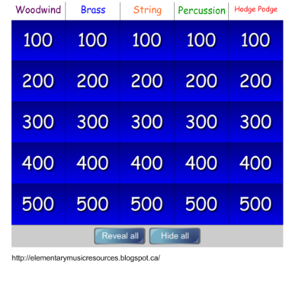 FREE DOWNLOAD - Instrument Jeopardy: Woodwind, Brass, String