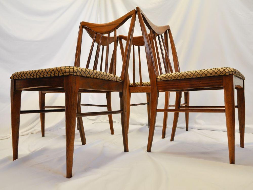 4 Mid Century Modern Walnut Dining Chairs Designed By Keller