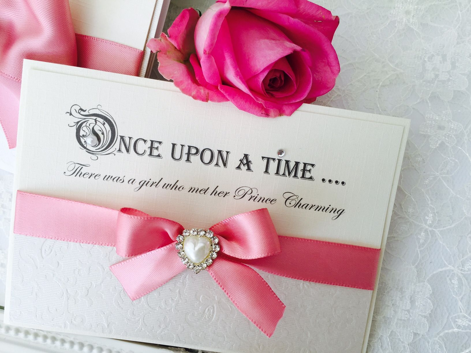 Fairytale quotes pretty save the date cards with pink ribbon bow and ...