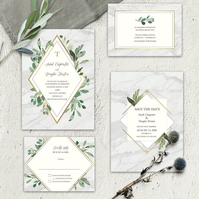 Olive Green Floral Diamante Personalised Engagement Party Invitations