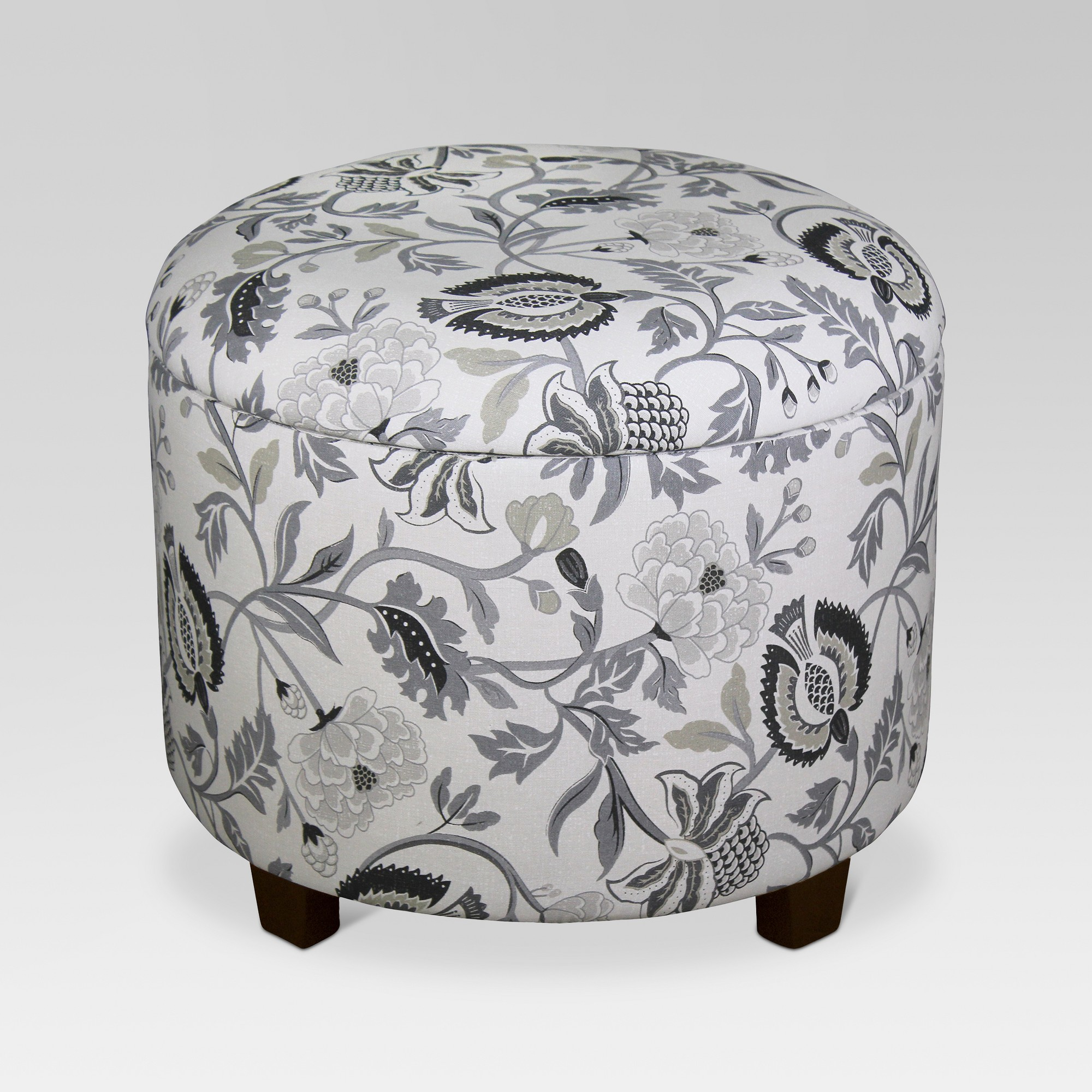 Awe Inspiring Trappe Medium Round Ottoman With Storage Gray Floral Gmtry Best Dining Table And Chair Ideas Images Gmtryco