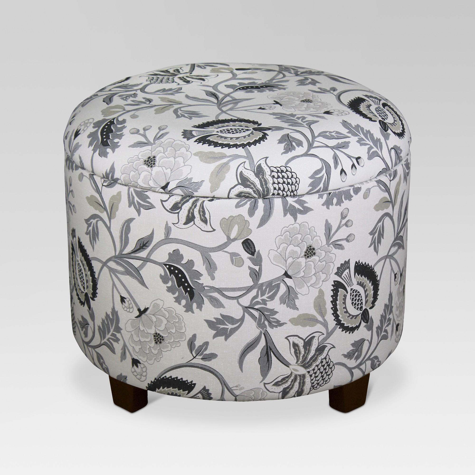 Terrific Trappe Medium Round Ottoman With Storage Gray Floral Inzonedesignstudio Interior Chair Design Inzonedesignstudiocom