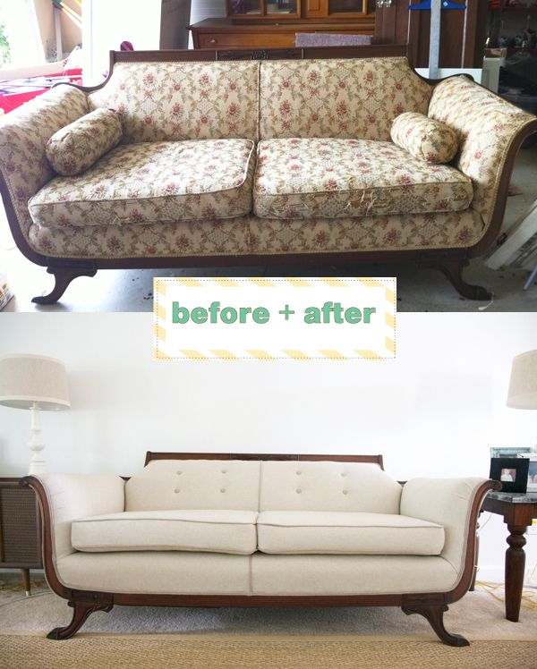 Reupholstered Couch. There Is This Couch Sitting In Front