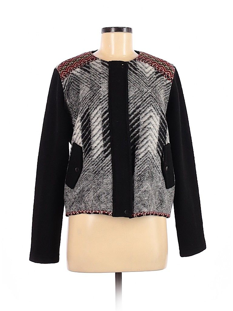 Custo Barcelona Jacket: Black Print Jackets & Outerwear - Size 38