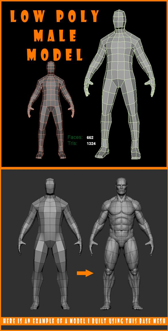 low poly male model #3docean | 3d art/animation | pinterest | for, Muscles