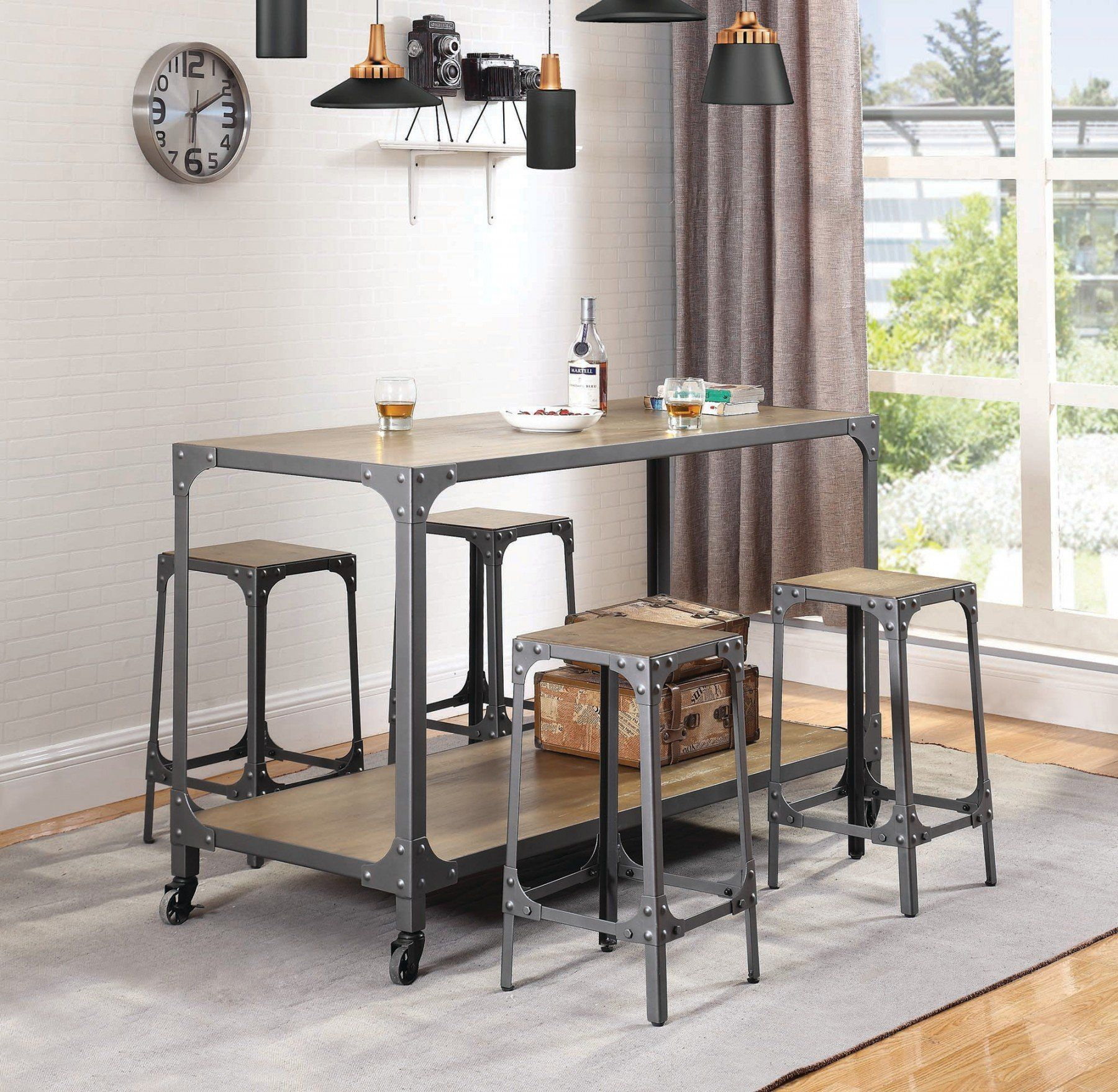 Rustic Light Brown 5 Piece Kitchen Island Set 50 rooms of gray