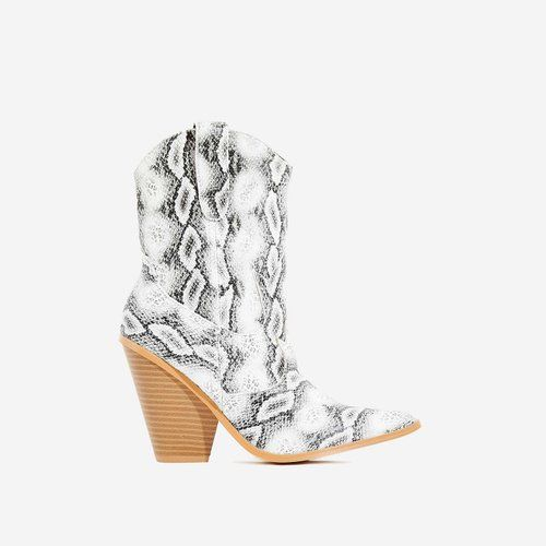 d2b121bc7 Kani Western Ankle Boot In Grey Snake Print Faux Leather   Get the ...