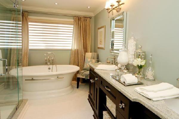 Jennifer Brouwer Design   Tub, Silk Drapes, Espresso Bathroom Vanity With  Double Sinks, .