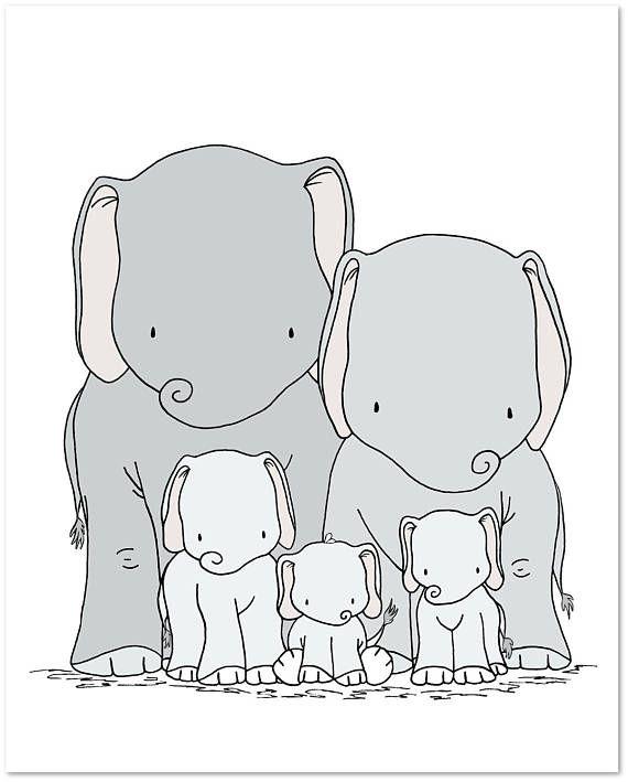 Elephant Nursery Art Print  Elephant Family Art  Elephant | Etsy