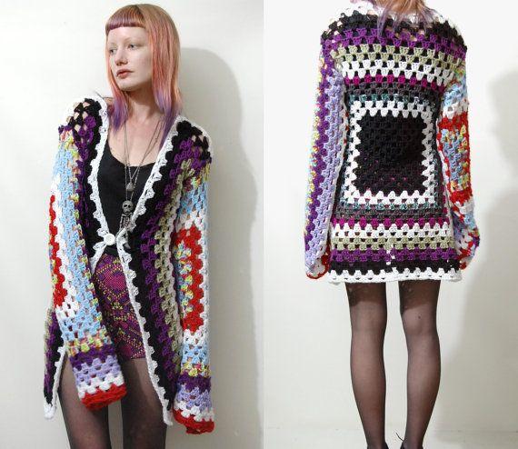 Vintage GRANNY SQUARE Crochet CARDIGAN Jacket Rainbow Colourful ooak ...