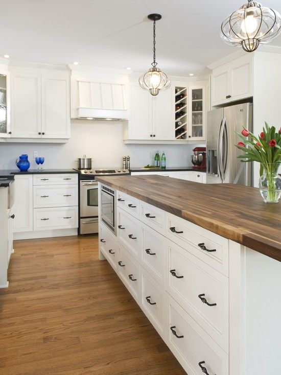 exceptional Blocking For Kitchen Cabinets #5: ... Kitchen Cabinets Ideas blocking for kitchen cabinets : White Kitchen  Cabinets With Butcher Block Countertops ...