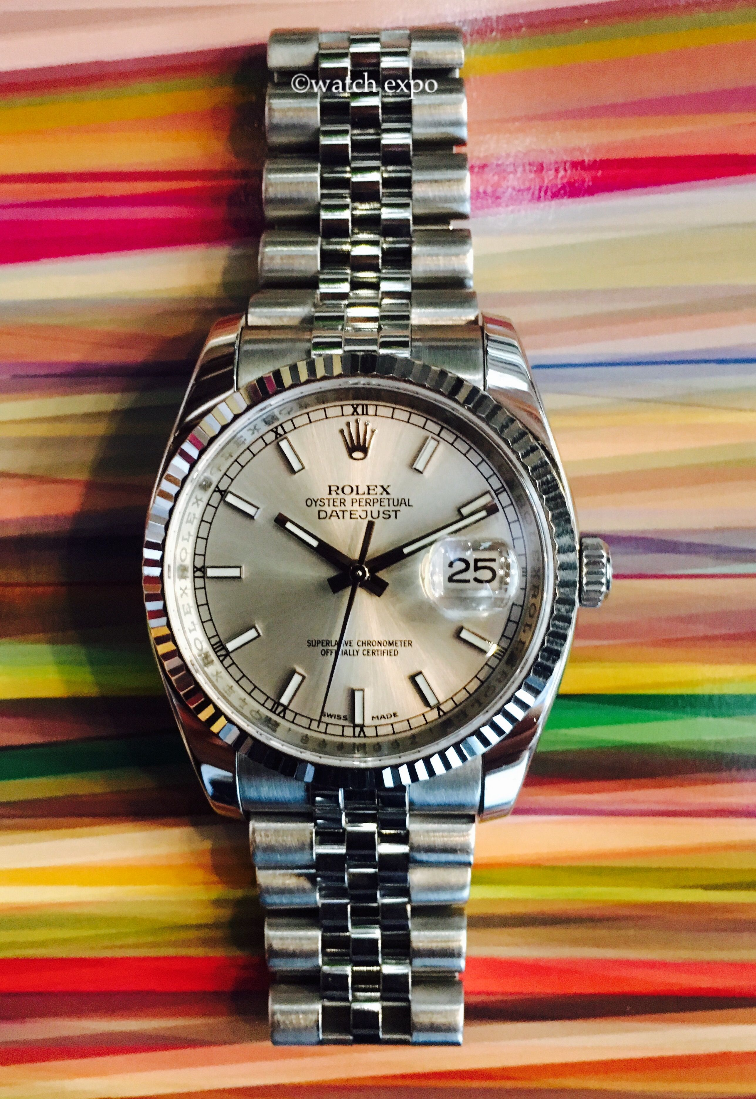 8a26637e3 Classic Silver dial 116234 Rolex Datejust 36mm stainless steel serial  number Z, with box and