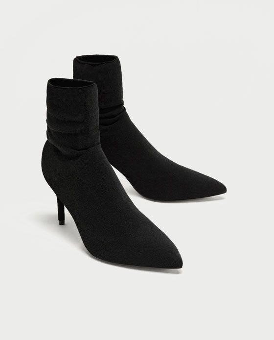 596008354ccda HIGH HEEL SOCK-STYLE ANKLE BOOTS-NEW IN-WOMAN | ZARA Ireland | Black ...