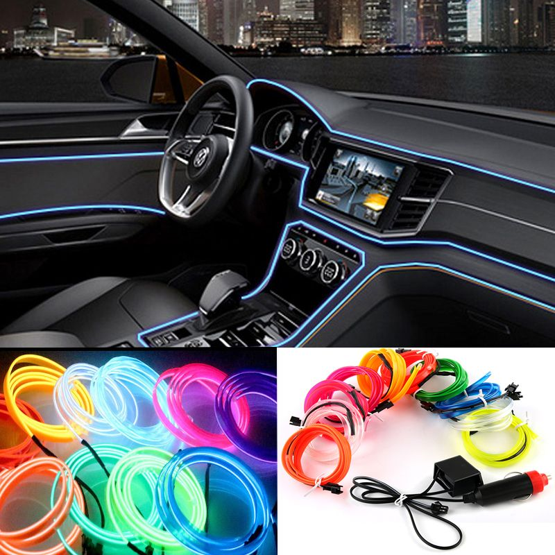 2m 3m 5m Car 12v Led Cold Lights Flexible Neon El Wire Auto Lamps On Car Cold Light Strips Line Interior Decoration Str Car Led Cute Car Accessories Car Lights