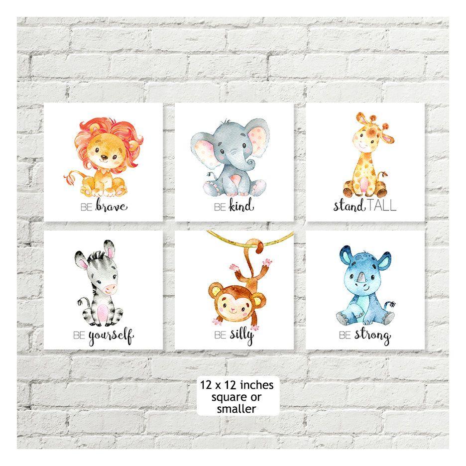 Nursery art Elephant,Giraffe,Rhino,Zebra Baby Safari//Jungle Animal Art Prints