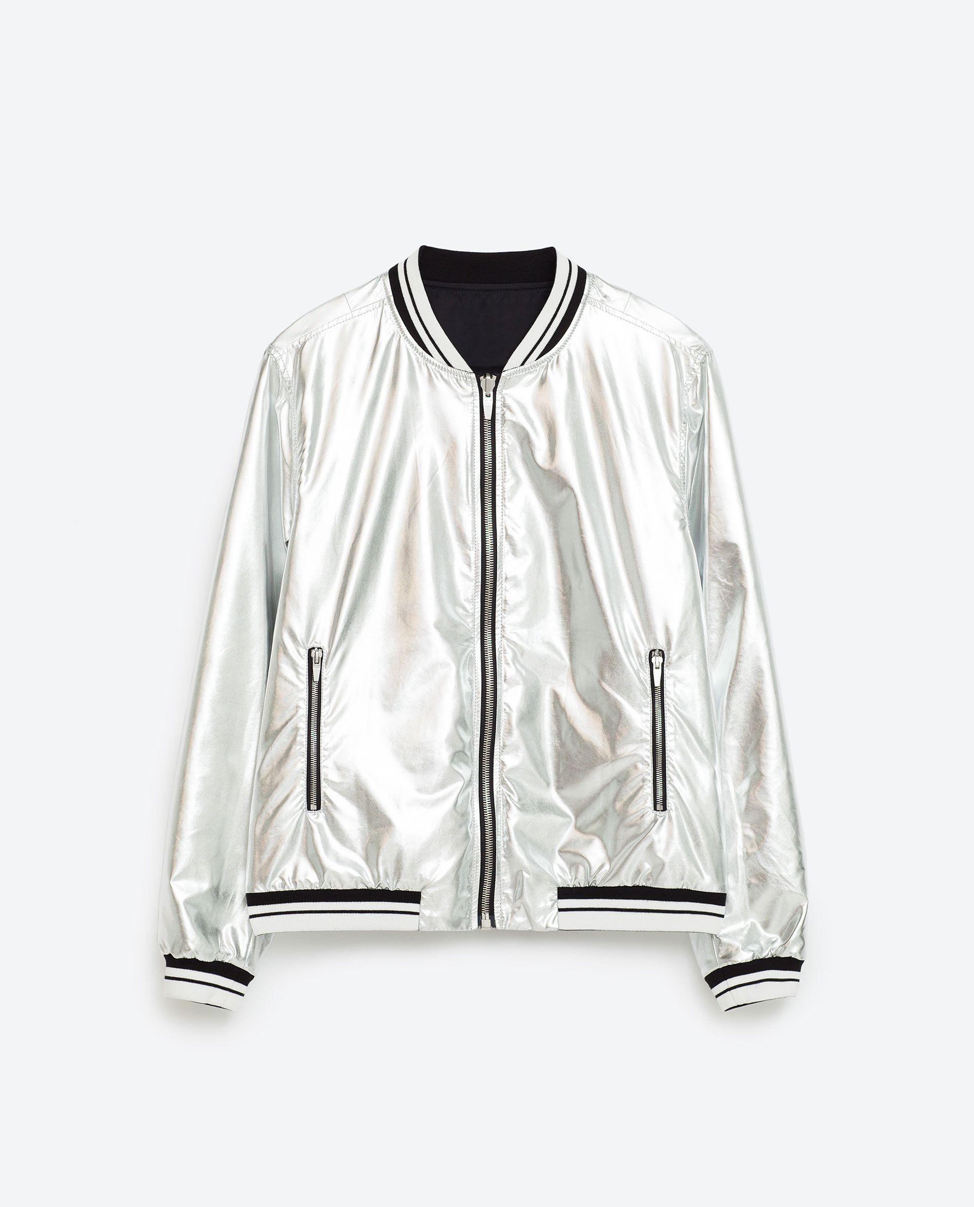 bb8b27ad42c2 Zara Reversible silver bomber jacket. Zipped flap pockets. Detail on the  sleeves  99.90.