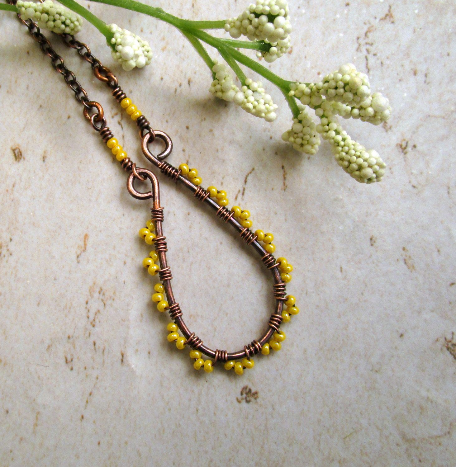 wire wrapped seed bead jewelry - hammered copper necklace