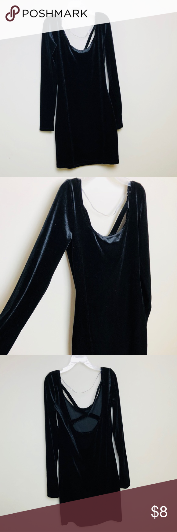 Black mini long sleeve velvet dress my posh closet pinterest