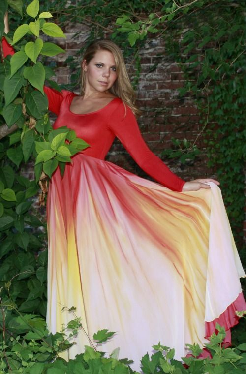 49818fe70497 This gorgeous Watercolor dance dress is built on a long sleeve SCOOP neck  UNLINED leotard. Empire DOUBLE layer skirt is so dramatic.